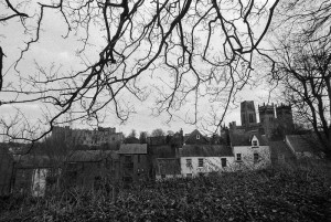 View of both of Durham's iconic landmarks: the Cathedral and the Castle. Film grain visible (scan from Delta 3200). Winter 2011-2012