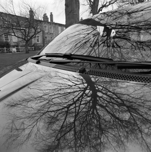 Bare tree, car, English house. Bronica SQ-A, Neopan 400CN