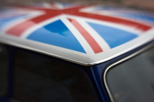Car with Union Flag rooftop Photographed with Lensbaby