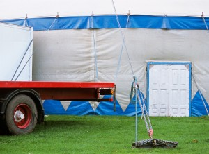The service exit of a circus. Canon EF 70-200 f/4L IS, Provia 100F