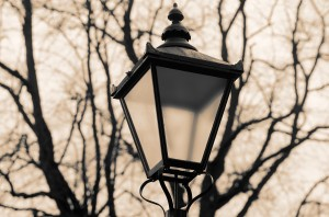 The usually elevated position of streetlights helps the photographers in choosing a suitable background. Here I pointed my NEX-5 in such a way to have bare trees only behind my already sober shape of a traditionally English lantern
