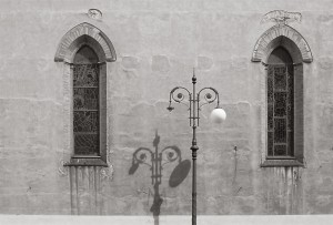 Parrocchia di Sant'Antonio Abate, Pisa - side facade. Scan from Provia 100F, toned into B&W. One lightbulb of the streetlamp is missing