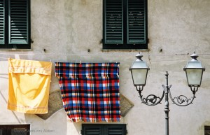 Lucca, Italy: some laundry left in the sun to dry. Scan of Provia 100F film