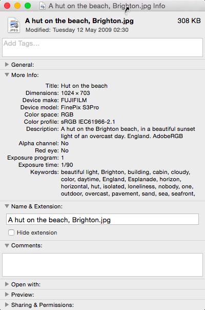 Editing EXIF metadata keyword with Mac OS X – Marco
