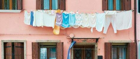 Keywords for stock photos: clothes line, airing the laundry in the sun